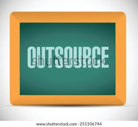 outsource board sign illustration design over a white background - stock vector