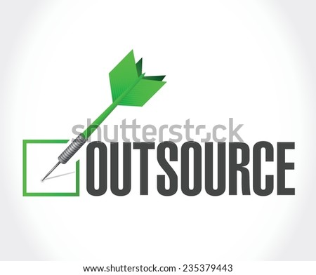 outsource dart checkmark illustration design over a white background