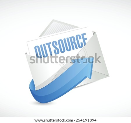 outsource mail illustration design over a white background - stock vector