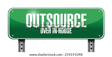 outsource road sign illustration design over a white background - stock vector