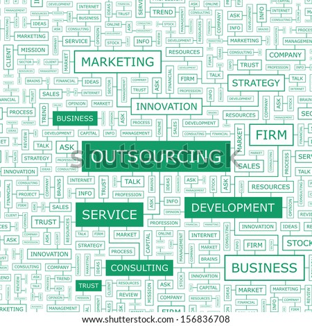 OUTSOURCING. Concept vector illustration. Word cloud with related tags and terms. Graphic tag collection. Wordcloud collage.  - stock vector