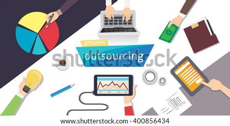 Outsourcing Hiring Outsource. Outsource digital design, eps 10. overhead illustration. vector-stock. - stock vector