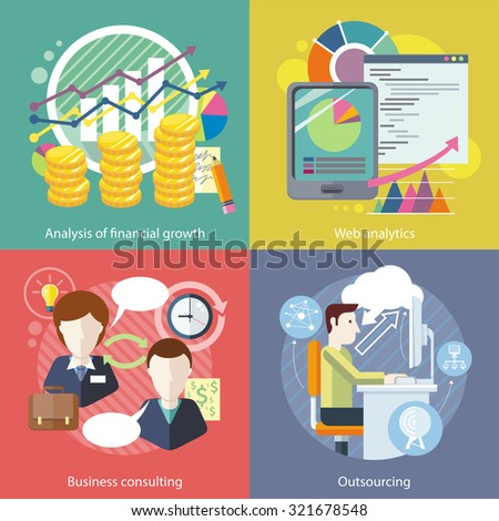 Outsourcing web analytics. Analysis financial growth. Business consulting, statistic and strategy, consultant and research, marketing optimization illustration in flat design - stock vector