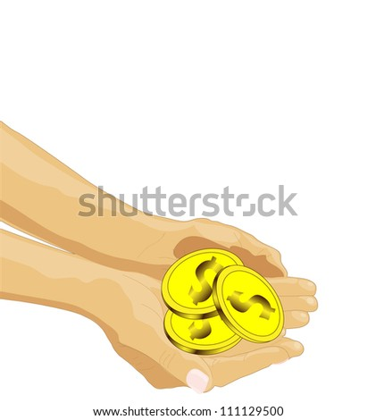 outstretched arms with three coins, concept on poverty, vector - stock vector