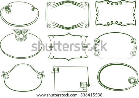 Oval and rectangular frames. Festive circuit with an emphasis on drawing a curl. - stock vector