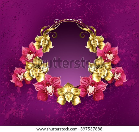 Oval banner decorated with gold and pink orchids on a pink textural background. Floral design. - stock vector