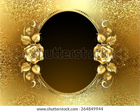 Oval banner with two gold roses on a background of gold brocade - stock vector