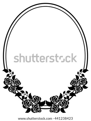 Oval Black White Frame Roses Silhouettes Stock Vector HD (Royalty ...