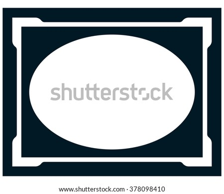 Oval border photo frame deco. Vector simple vertical line signboard