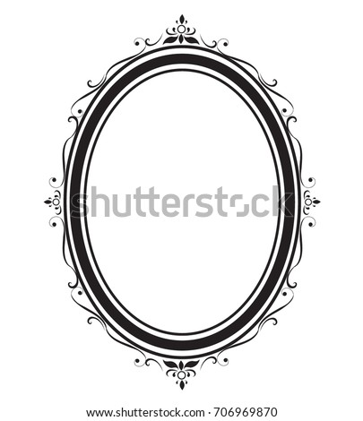 Oval Frame Borders Black White On Stock Vector (Royalty Free ...