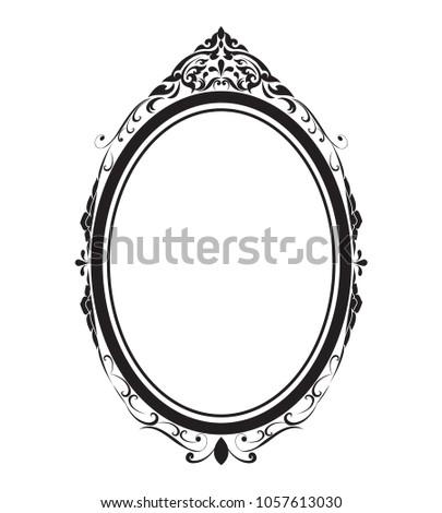 Oval Frame Borders Black White Thai Stock Vector 1057613030 ...