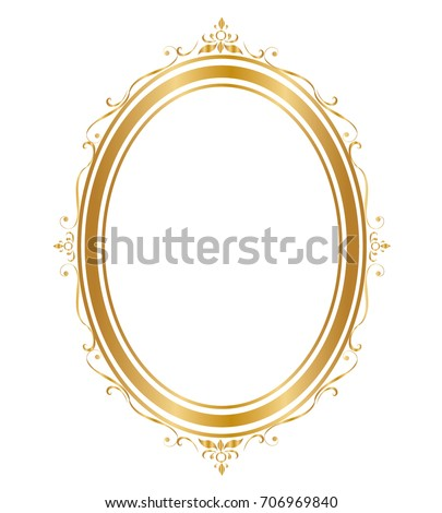 Oval Frame And Borders Golden On White Background Thai Pattern Vector Illustration