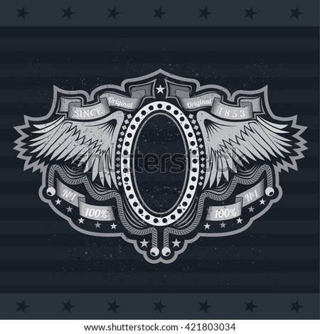 Oval Frame Between Wings And Winding Ribbons. Vintage Label With Coat of Arms On Blackboard - stock vector