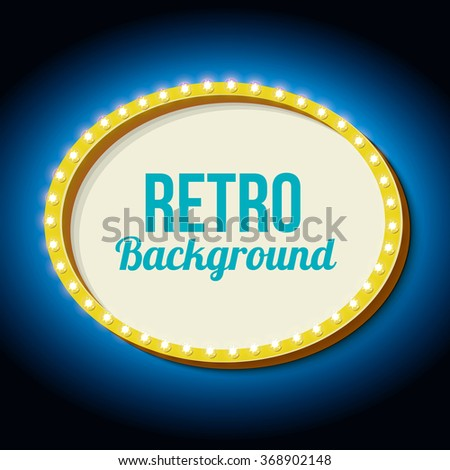 Oval frame with blue neon. Realistic 3D volumetric vintage frame. Retro sign with lights and empty place for your action, advertising, text messages. Vector illustration - stock vector