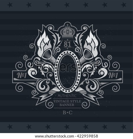 Oval Frame With Cross Torch And Floral Pattern. Vintage Label On Blackboard - stock vector