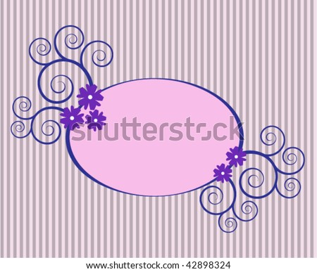 Oval frame with swirls and flowers