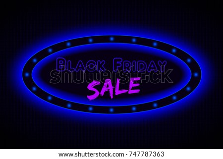 Oval glowing neon sign board for Black Friday.