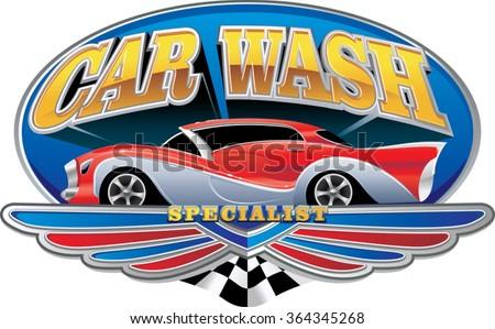 oval logo for car washing service station . Polished vintage car red color on blue oval frame. Vector illustration - stock vector