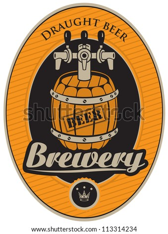 oval sticker with a barrel of beer - stock vector