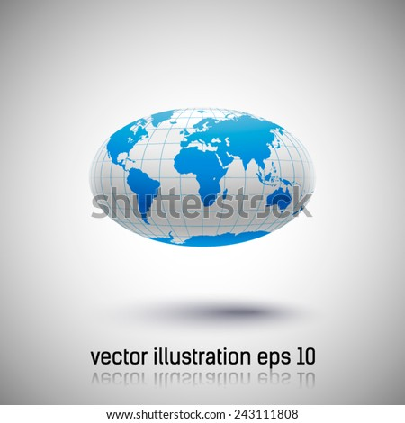 oval surround the globe with shadow - stock vector