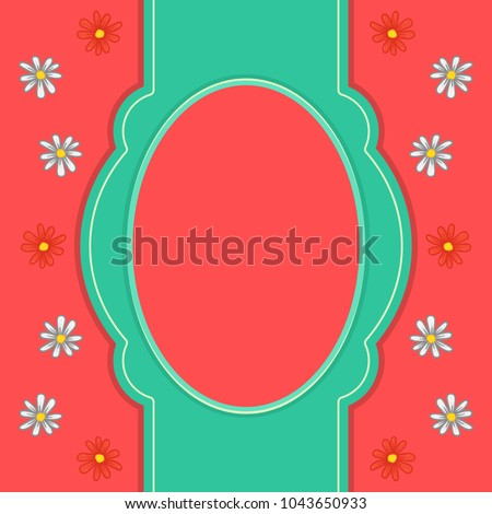 Oval Text Picture Frame On Pink Stock Vector 1043650933 Shutterstock