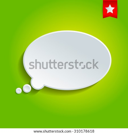 Oval vector speech bubble on the green background.  - stock vector