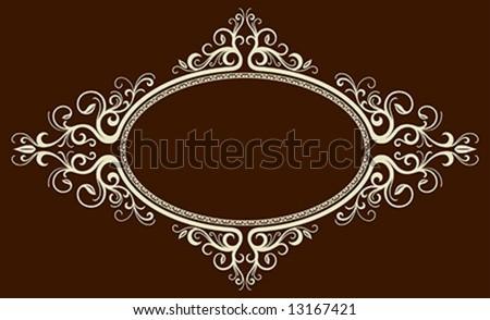 Oval vintage floral frame (Vector) - stock vector