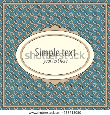 Oval vintage frame on polka dots retro pattern. Invitation or greeting card.