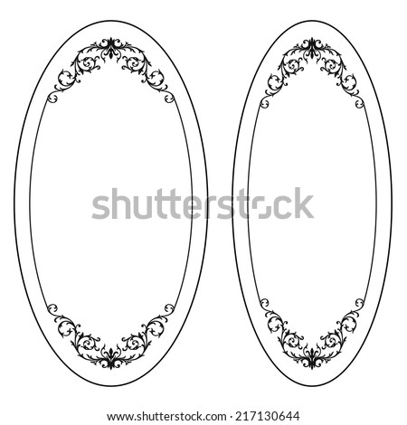 Oval vintage frame. Vector. - stock vector