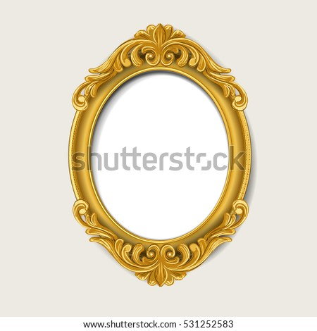 Oval Vintage Gold Picture Frame Stock Vector HD Royalty Free