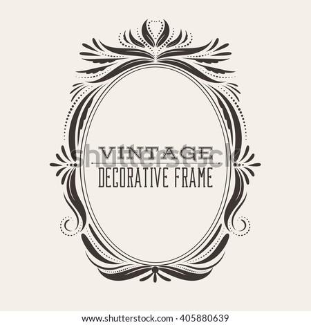 vintage frame design oval. Oval Vintage Ornate Border Frame With Retro Pattern, Victorian And Baroque Style Decorative Design. Design O