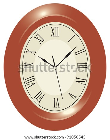 Oval wall clock in a wooden case with Roman numerals. Vector illyustrptsiya.