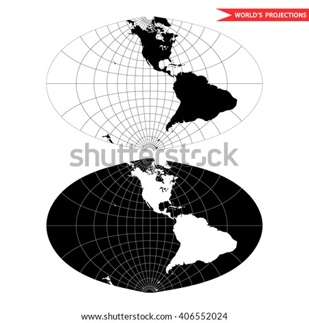 oval world map projection. Black and white world map vector illustration. - stock vector