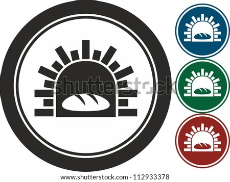 Oven and bread, vector, icon - stock vector