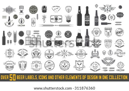 Over 50 beer labels, icons and other elements of design in one collection. - stock vector