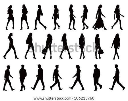 Over twenty young people silhouettes. Perfect body proportions, long legs. Black vector illustration over white background. - stock vector