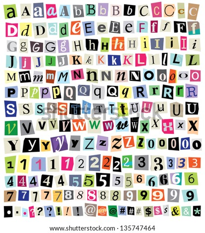 over 200 vector cut newspaper and magazine letters numbers symbols mixed uppercase