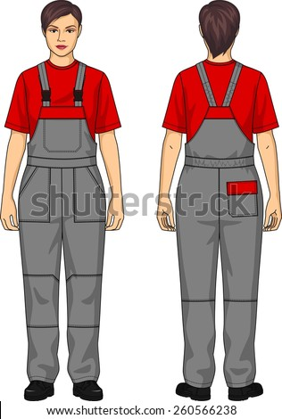 Overalls working for the woman with pockets - stock vector