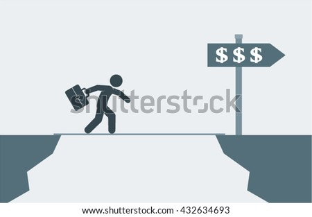 Overcoming Financial Problems Difficulties Vector Design