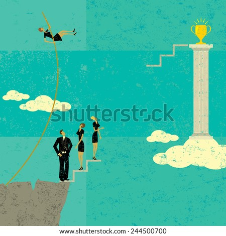 Overcoming Obstacles A businesswoman pole vaulting over other business people to achieve her goal. The people and background are on separate labeled layers. - stock vector