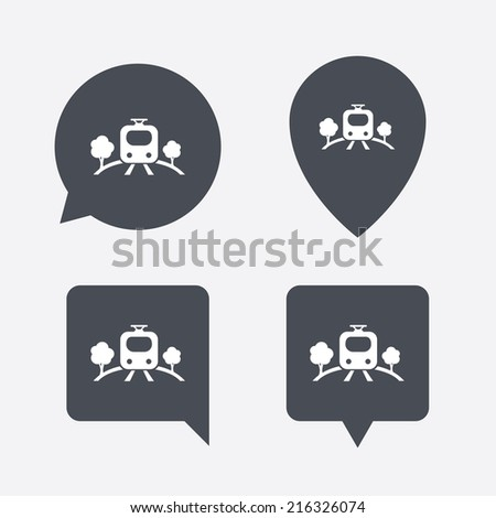 Overground subway sign icon. Metro train symbol. Map pointers information buttons. Speech bubbles with icons. Vector - stock vector