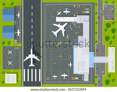 Overhead   point of view airport with all the buildings, planes, vehicles and airport runway - stock vector