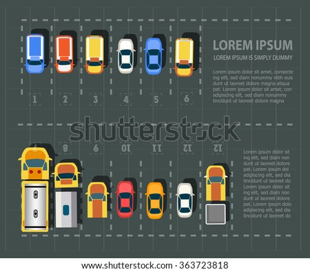Overhead  point of view  vehicles. Set of cars   - stock vector