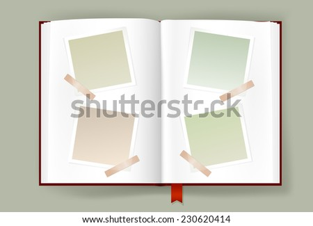 Overhead view of opened photo album with scraps of blank photo frames clipped on it. Opened book scrapbook template. Copy space. Vector is EPS10. Transparency effects and gradient meshes used. - stock vector