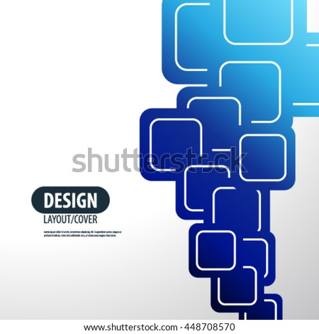 Overlapping Blue Gradient Rounded Squares Layout/Design Cover Background - stock vector