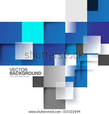 Overlapping Blue Squares Background - stock vector