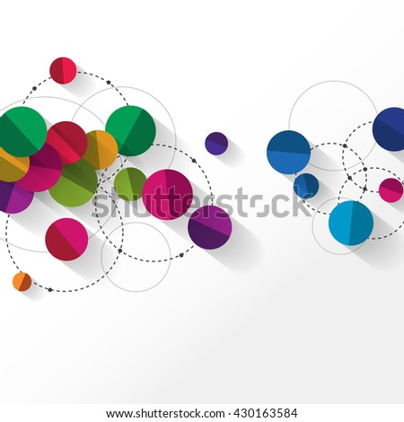Overlapping Circles with Shadows Clean Background - stock vector
