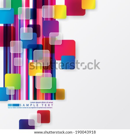 Overlapping Colorful Squares Background - stock vector