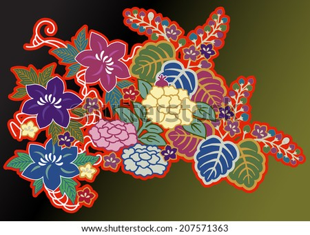 overlapping floral motifs from kimono arranged against a dark background