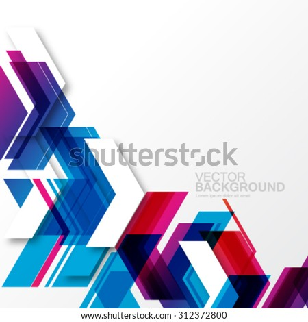 Overlapping Geometric Arrows Modern Background - stock vector